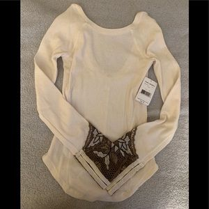 Free People Thermal with Crochet Sleeve
